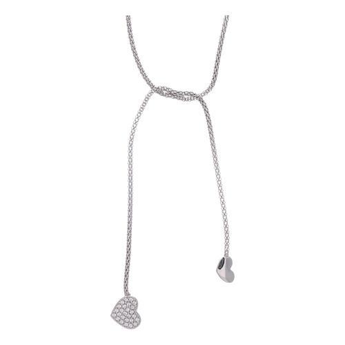 Collana AMEN modello abbraccio argento 925 cuori e zirconi bianchi 1