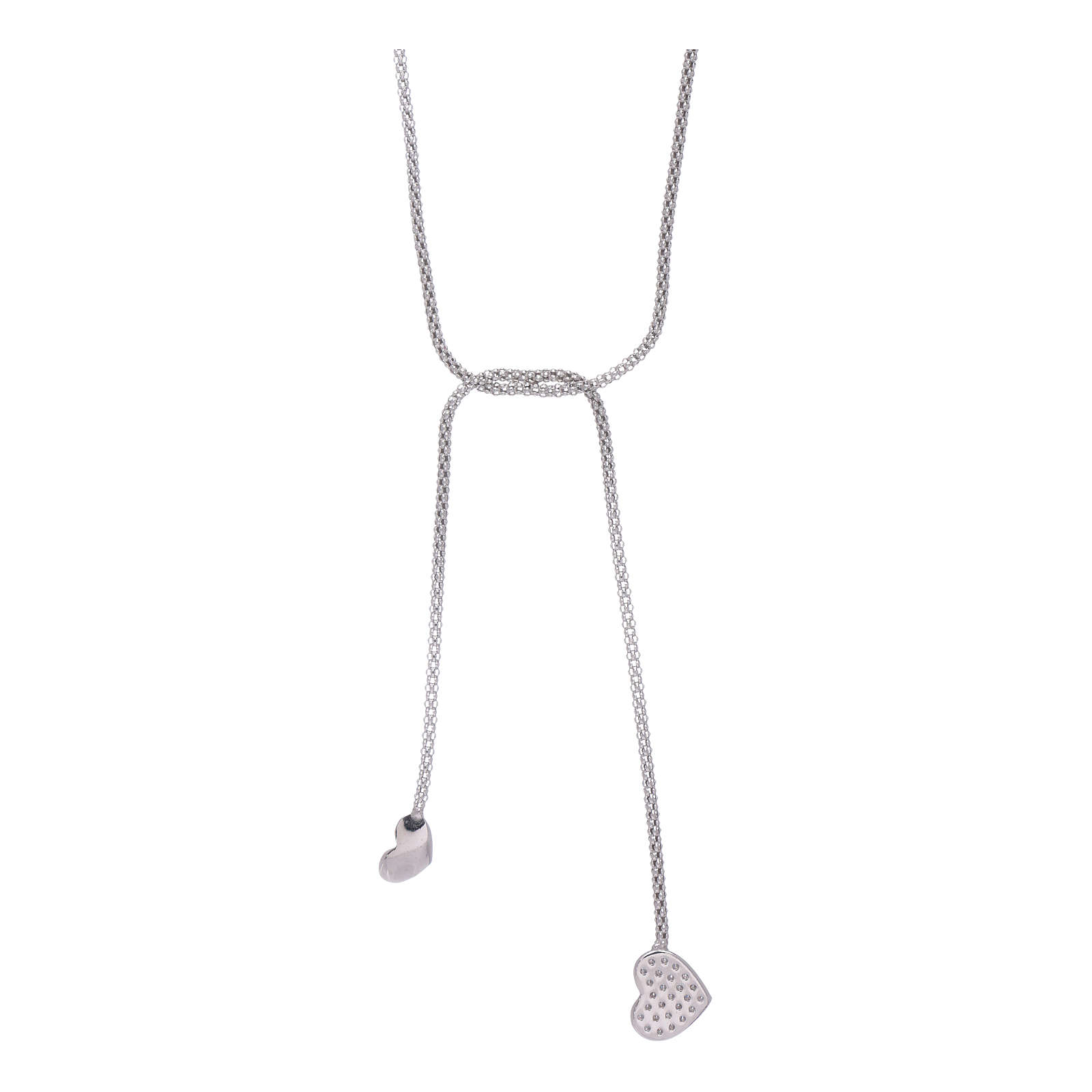 AMEN necklace hug model with hearts decorated with white zircons in 925 sterling silver 4