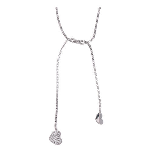 AMEN necklace hug model with hearts decorated with white zircons in 925 sterling silver 1