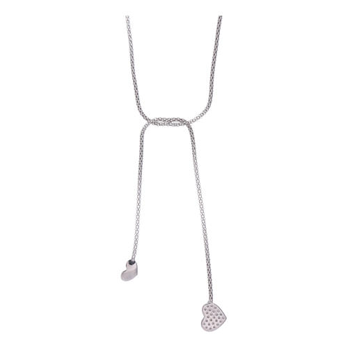 AMEN necklace hug model with hearts decorated with white zircons in 925 sterling silver 2
