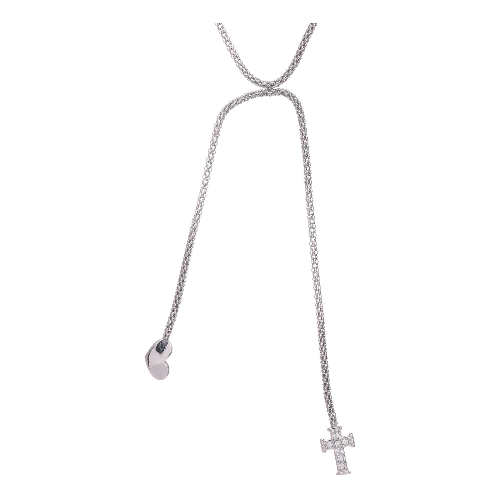 AMEN necklace hug model with heart and cross decorated with white zircons in 925 sterling silver 4