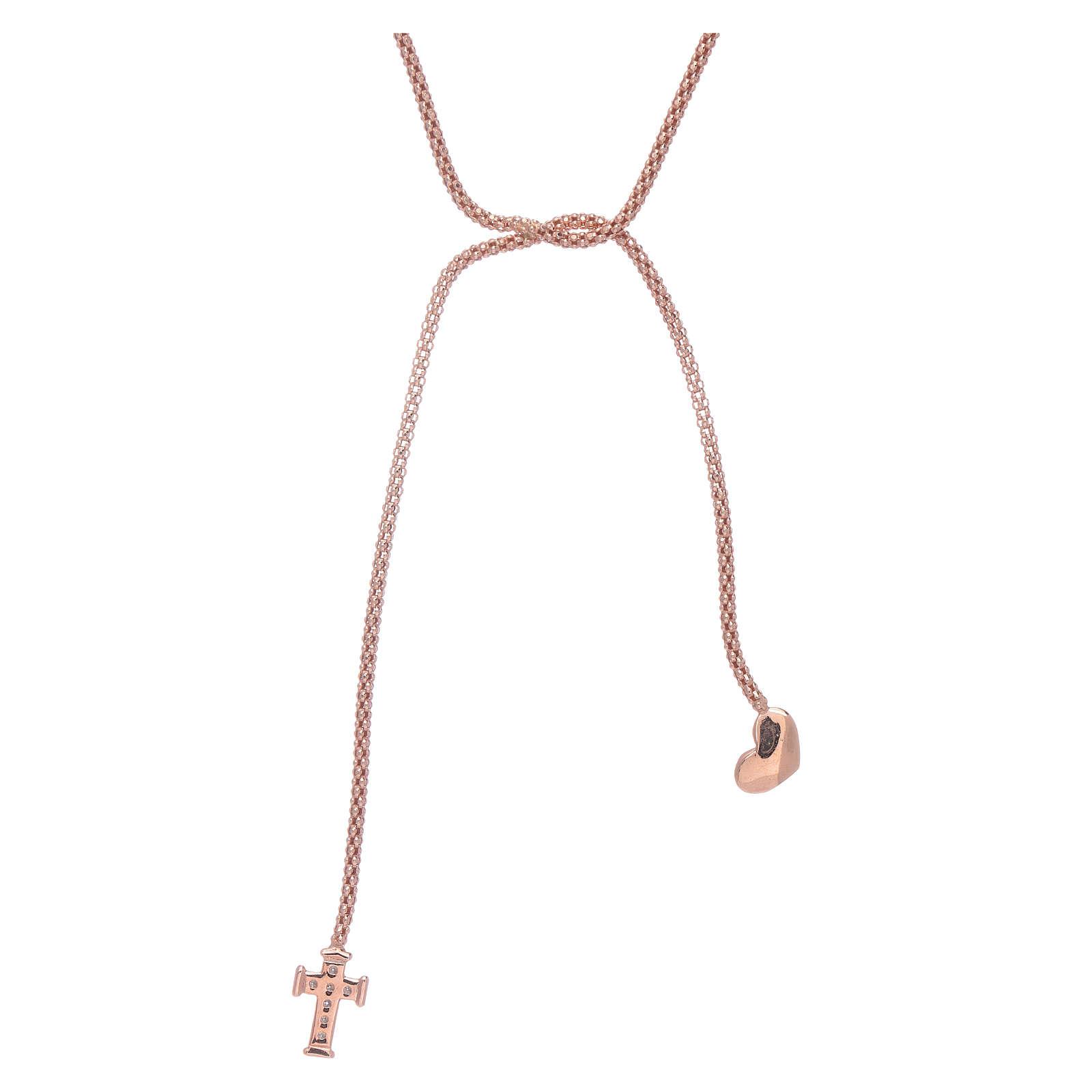 Colar Amen prata 925 rosê abraço coração e cruz zircões brancos 4
