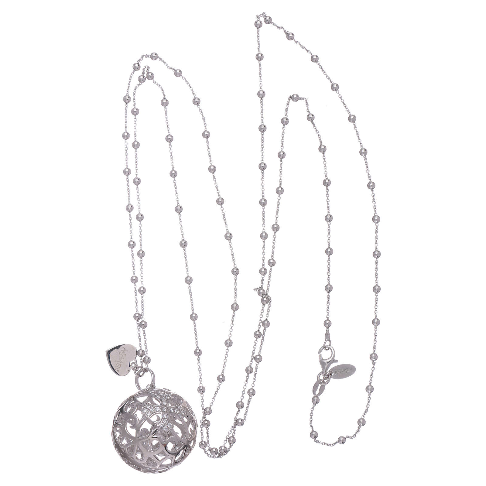 Collana AMEN chiama angeli argento 925 croce e zirconi 4