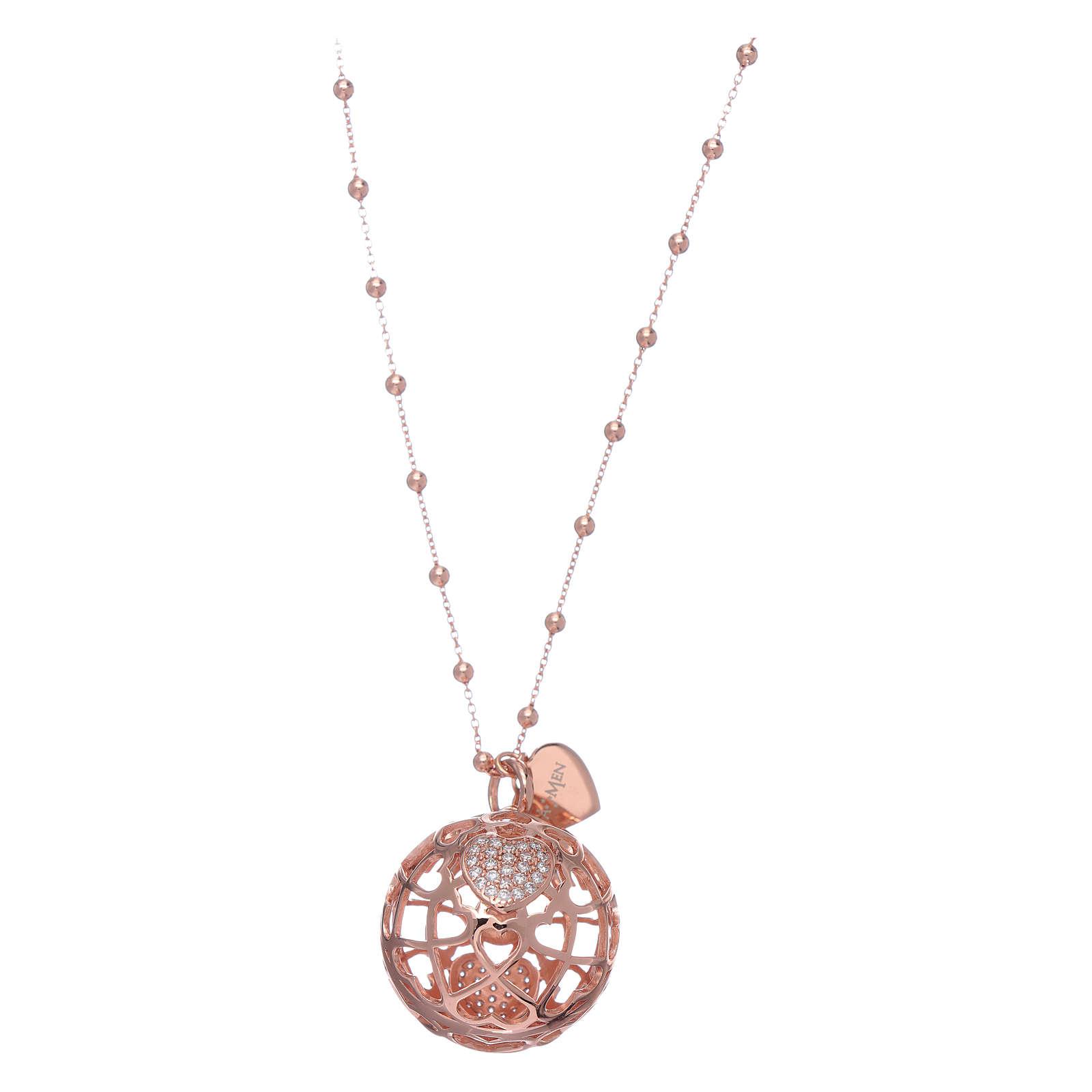 Collana AMEN chiama angeli rosè cuore e zirconi argento 925 4