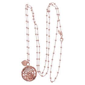 Collana AMEN chiama angeli rosè cuore e zirconi argento 925 s3