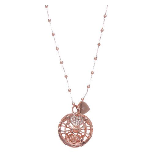 Collana AMEN chiama angeli rosè cuore e zirconi argento 925 1
