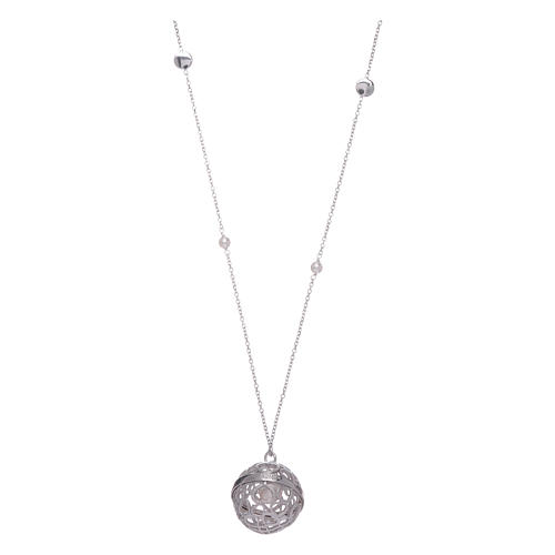 Collar AMEN llamador de ángeles plata 925 y perlas 2