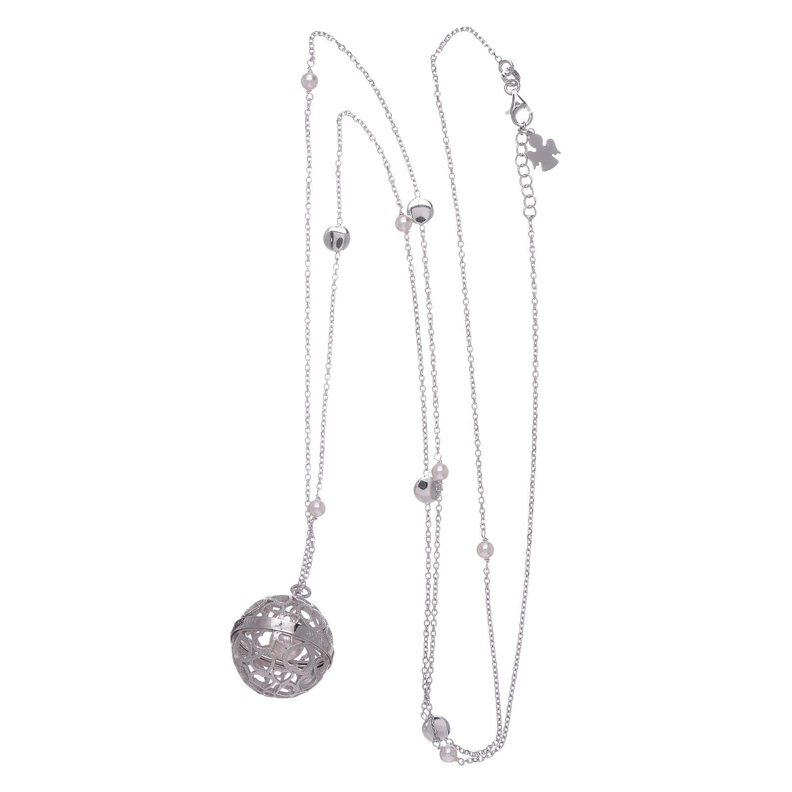 Collier AMEN grelot de grossesse argent 925 et perles 4