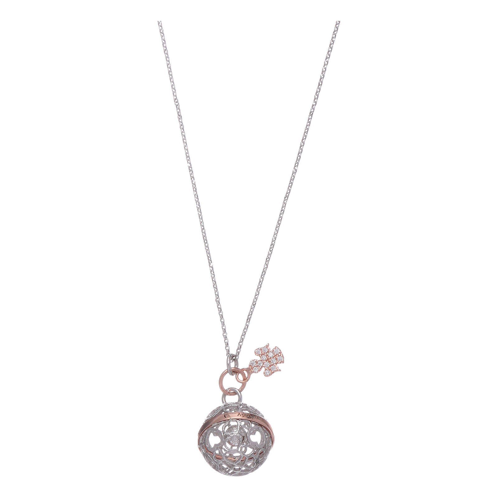 AMEN necklace in 925 sterling silver finished in rosè with white zircons 4