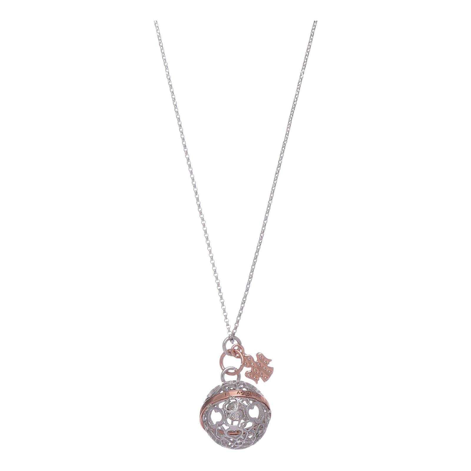 Collier AMEN boule bola argent 925 rhodié et rosé avec zircons blancs 4