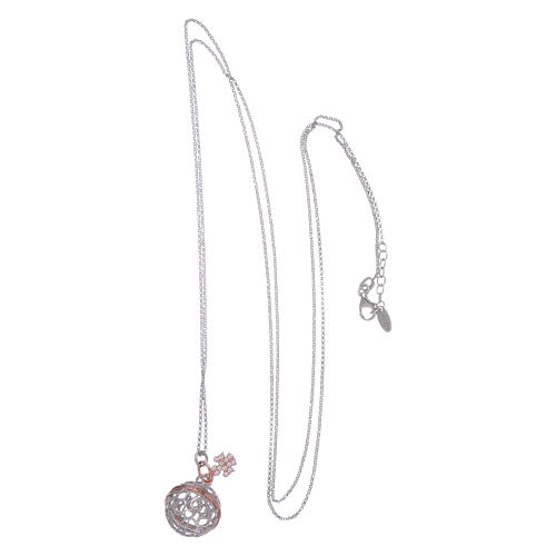 AMEN necklace in 925 sterling silver finished in rosè with white zircons 3