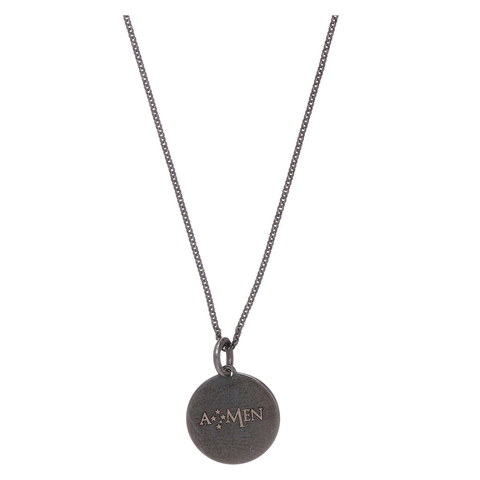 AMEN necklace for men with Our Father prayer in 925 sterling silver 4
