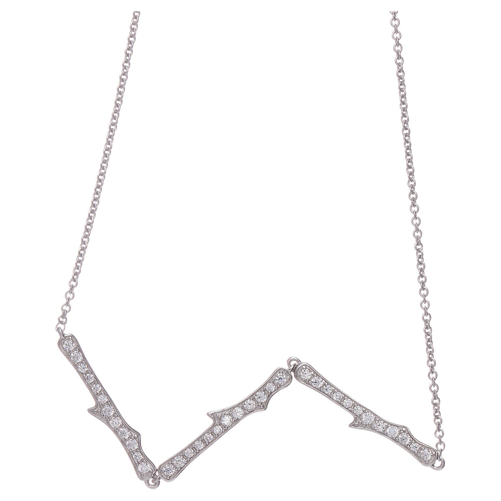 Collier AMEN argent 925 rhodium zircons blancs 4