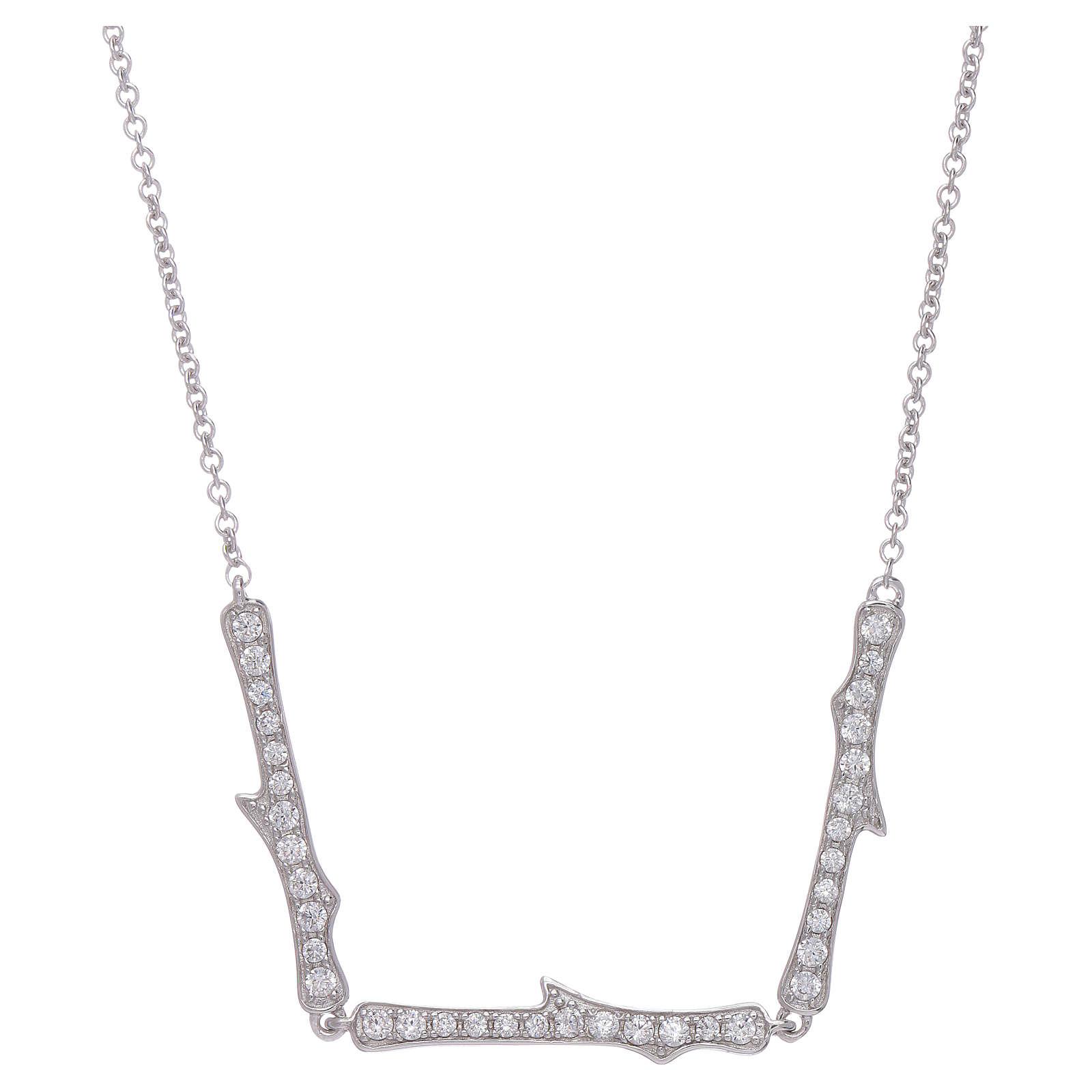Collana AMEN argento 925 rodio zirconi bianchi 4