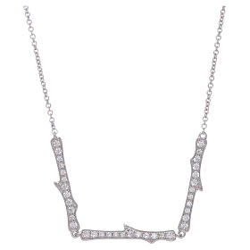 Collana AMEN argento 925 rodio zirconi bianchi s1