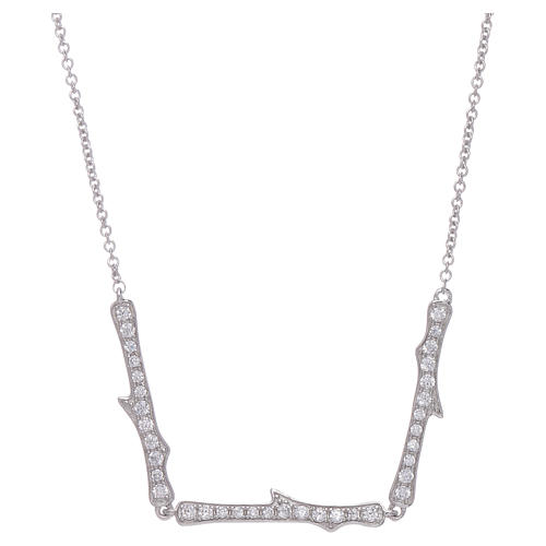 Collana AMEN argento 925 rodio zirconi bianchi 1