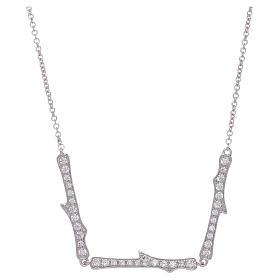 Pingentes, Cruzes, Broches, Correntes: Colar AMEN prata 925 ródio zircões brancos