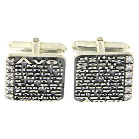 Botões de Punho: Botões de punho Ave Maria AMEN prata 925 e zircões