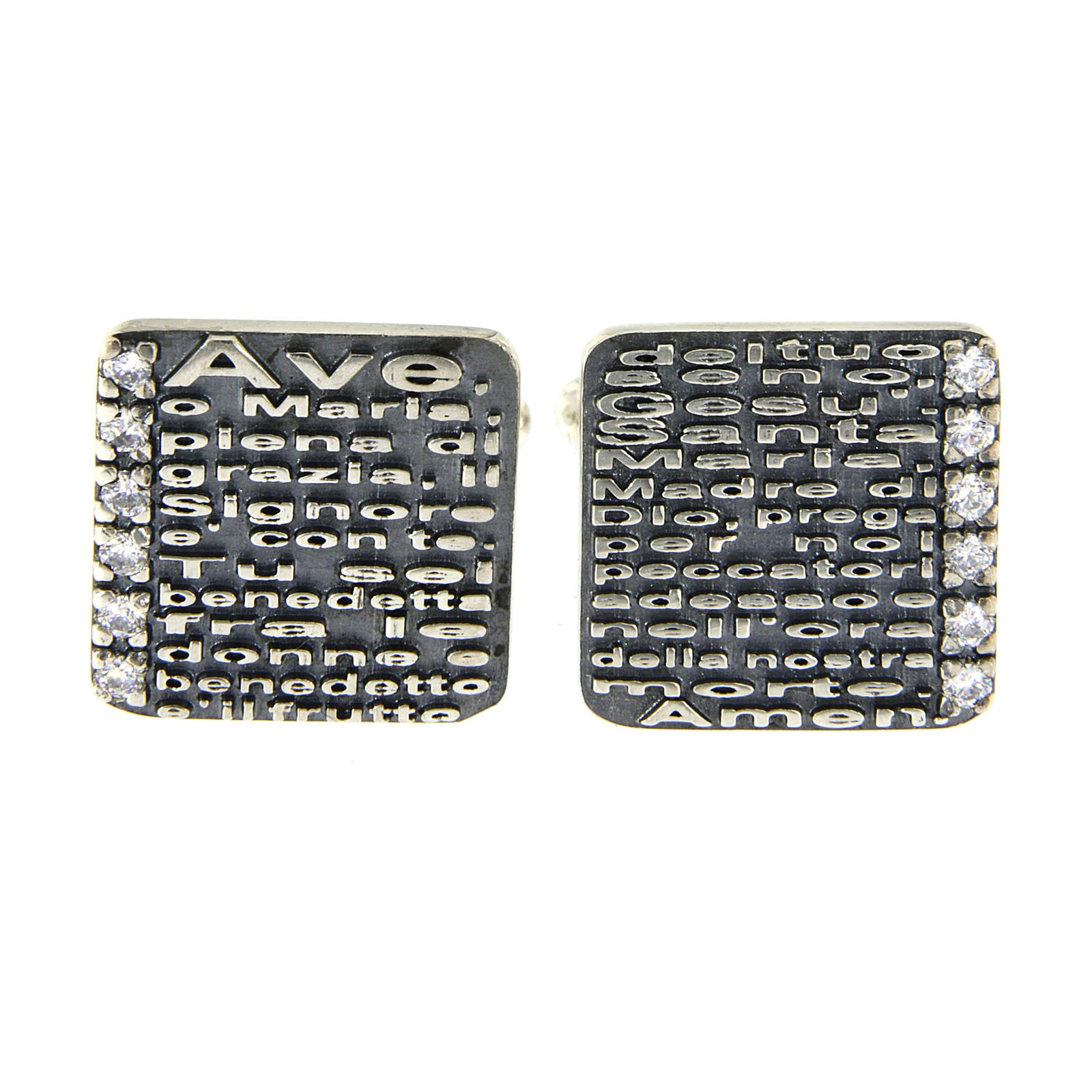 Hail Mary prayer AMEN cufflinks, 925 sterling silver and zircons 4