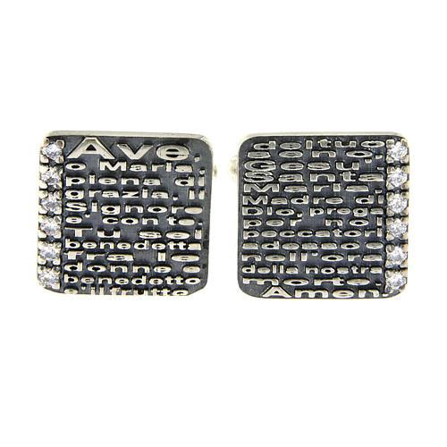 Hail Mary prayer AMEN cufflinks, 925 sterling silver and zircons 2