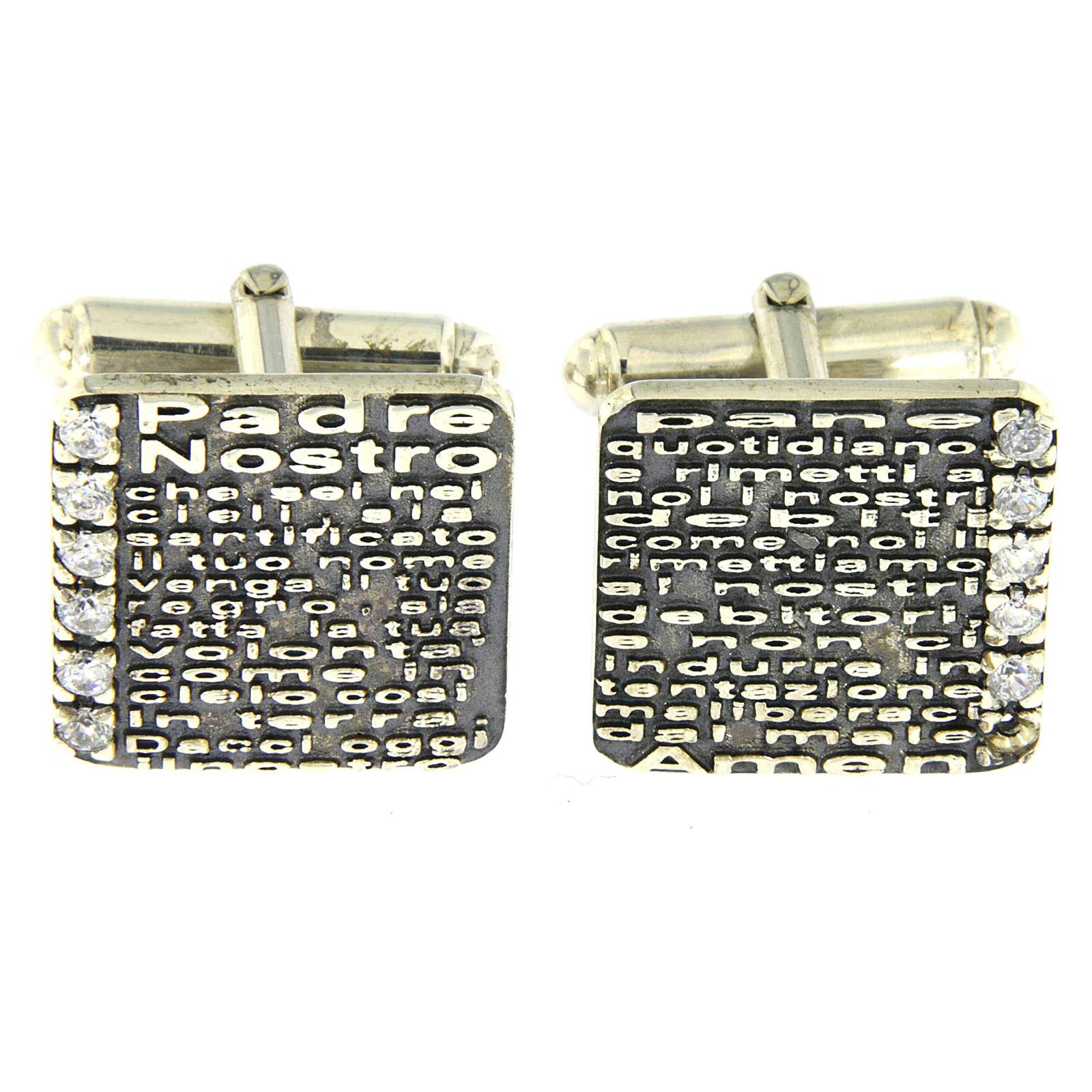 Gemelli Padre Nostro inciso AMEN argento 925 e zirconi 4