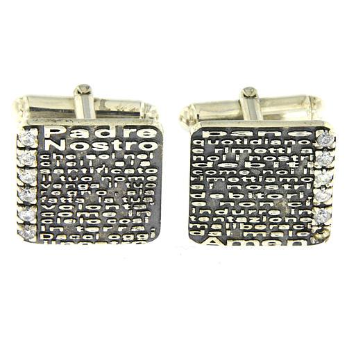 Gemelli Padre Nostro inciso AMEN argento 925 e zirconi 1