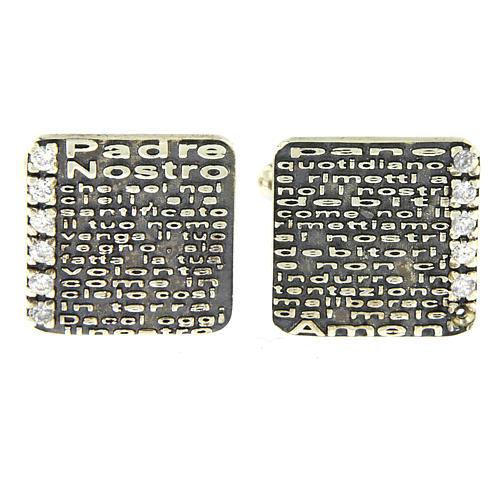 Gemelli Padre Nostro inciso AMEN argento 925 e zirconi 2