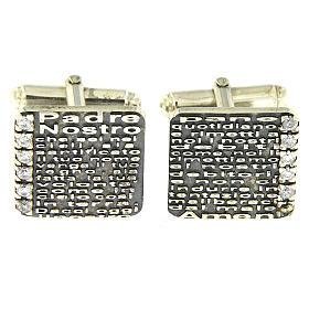 Botões de Punho: Botões de punho Pai Nosso AMEN prata 925 e zircões