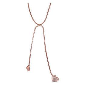 Collana abbracci arg 925 rosè AMEN zirconi bianchi s1