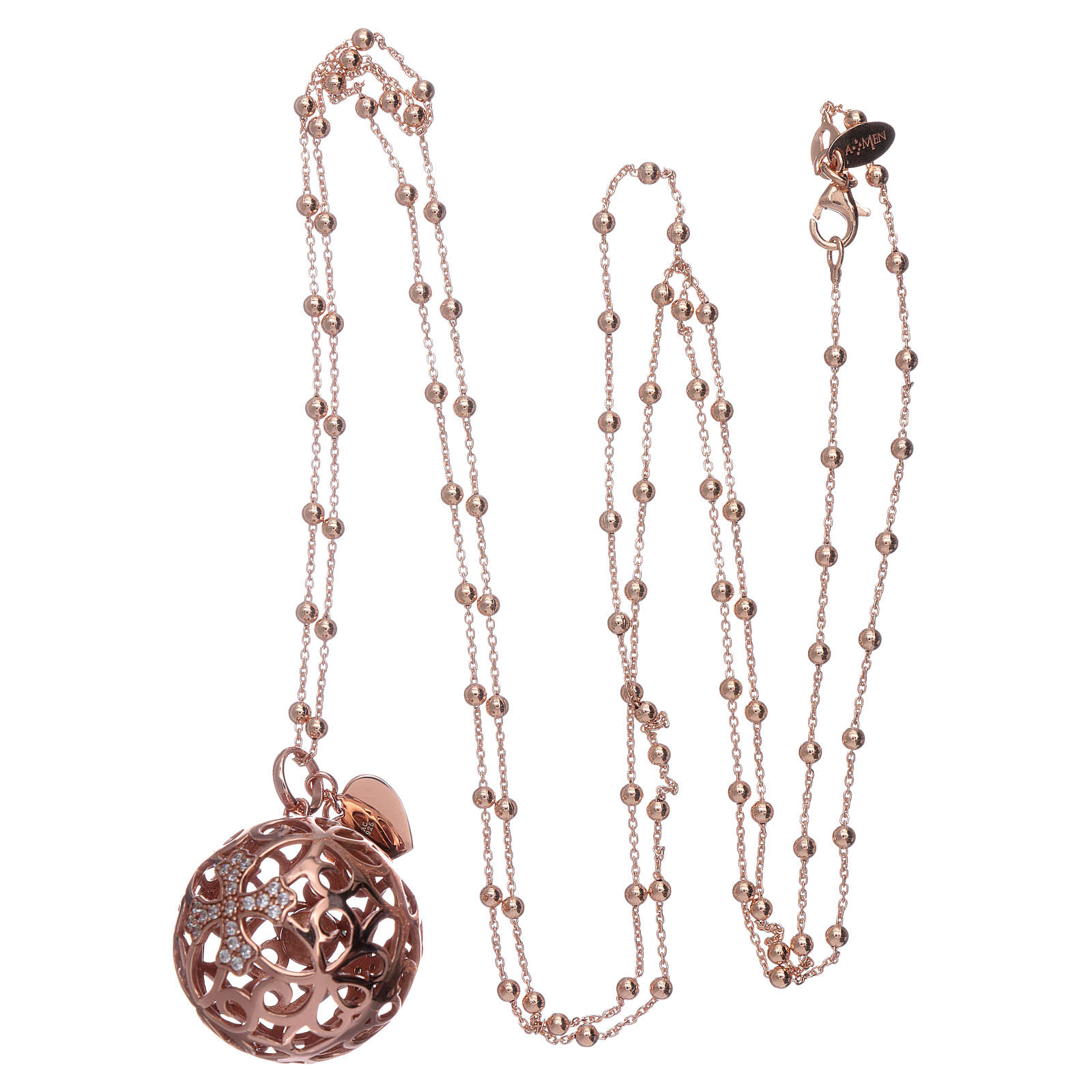 Amen angel caller necklace in 925 sterling silver finished in rosè and zircons   4