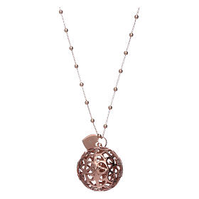 Amen angel caller necklace in 925 sterling silver finished in rosè and zircons   s2