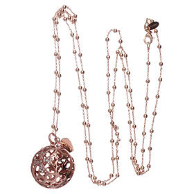 Amen angel caller necklace in 925 sterling silver finished in rosè and zircons   s3