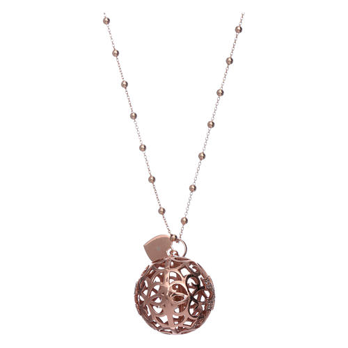 Amen angel caller necklace in 925 sterling silver finished in rosè and zircons   2