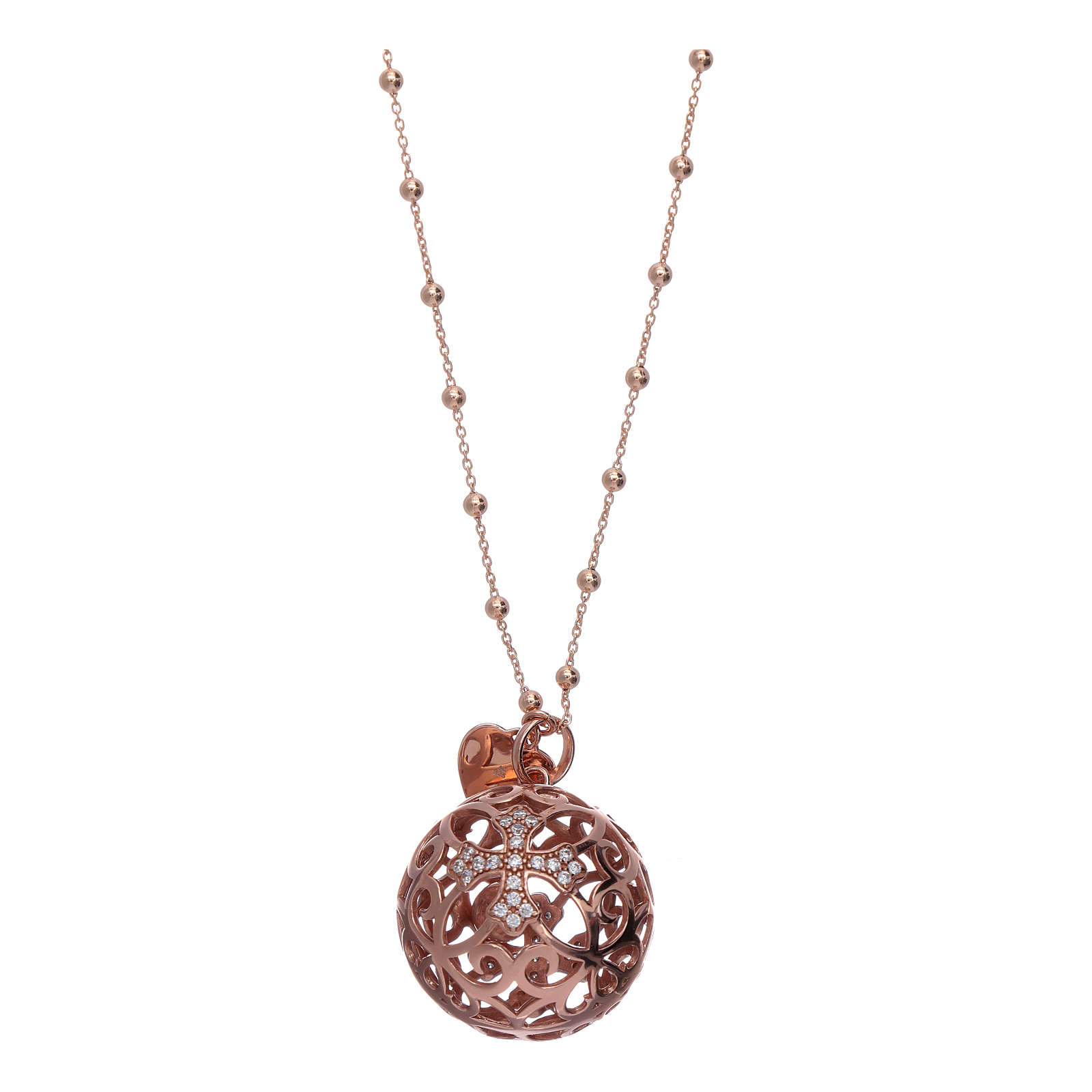 Collar Llamador Ángeles AMEN plata 925 rosada y zircones 4