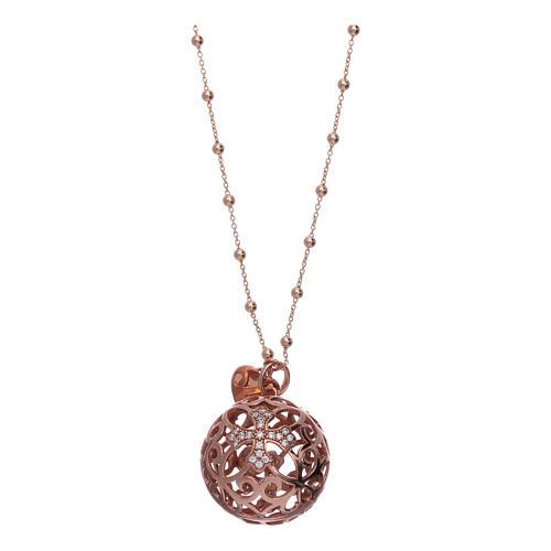 Collar Llamador Ángeles AMEN plata 925 rosada y zircones 1