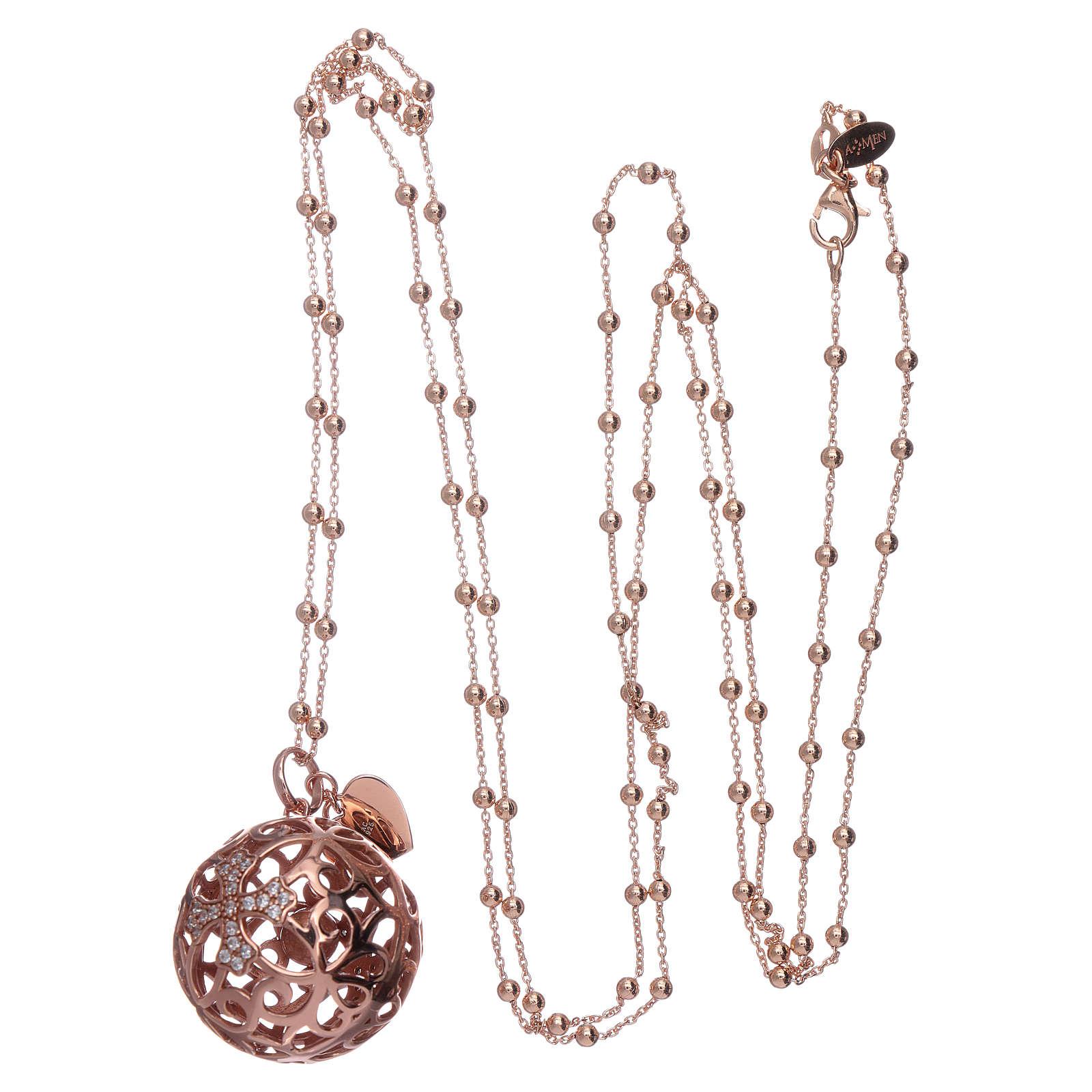 Collier harmony ball AMEN argent 925 rosé et zircons 4