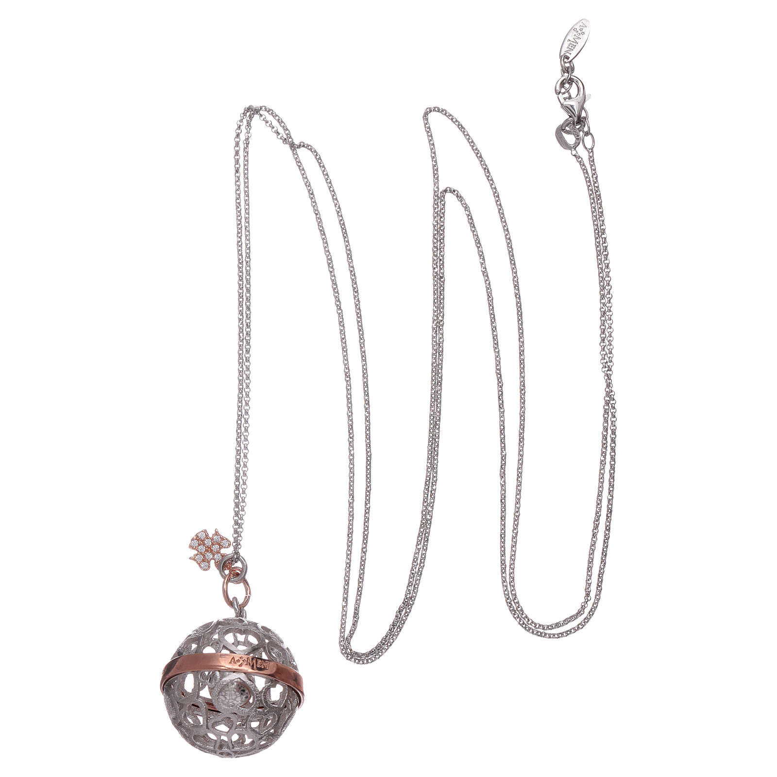 Collier harmony ball AMEN argent 925 et ange 4