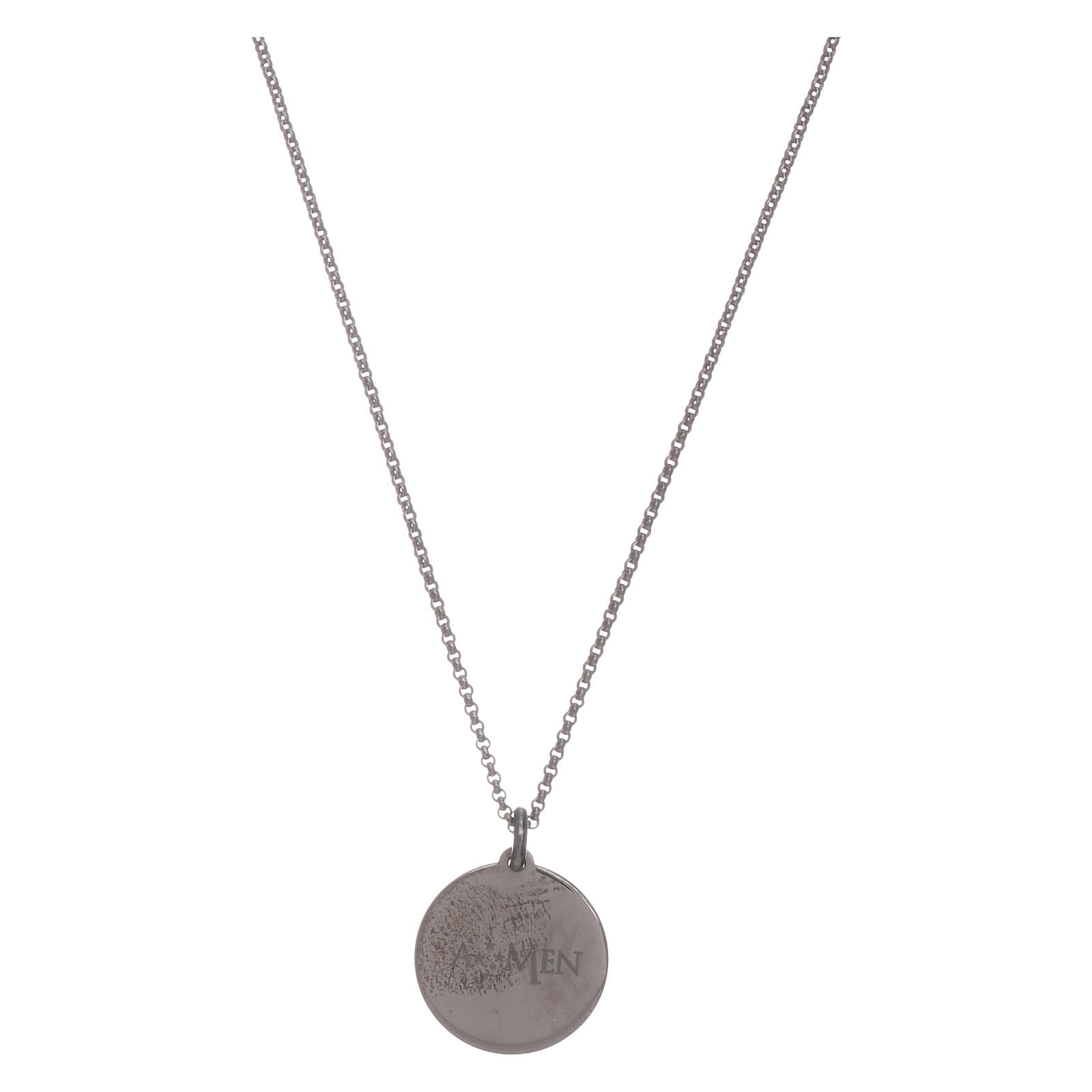 AMEN Hail Mary necklace in 925 sterling silver finished in burnish 4