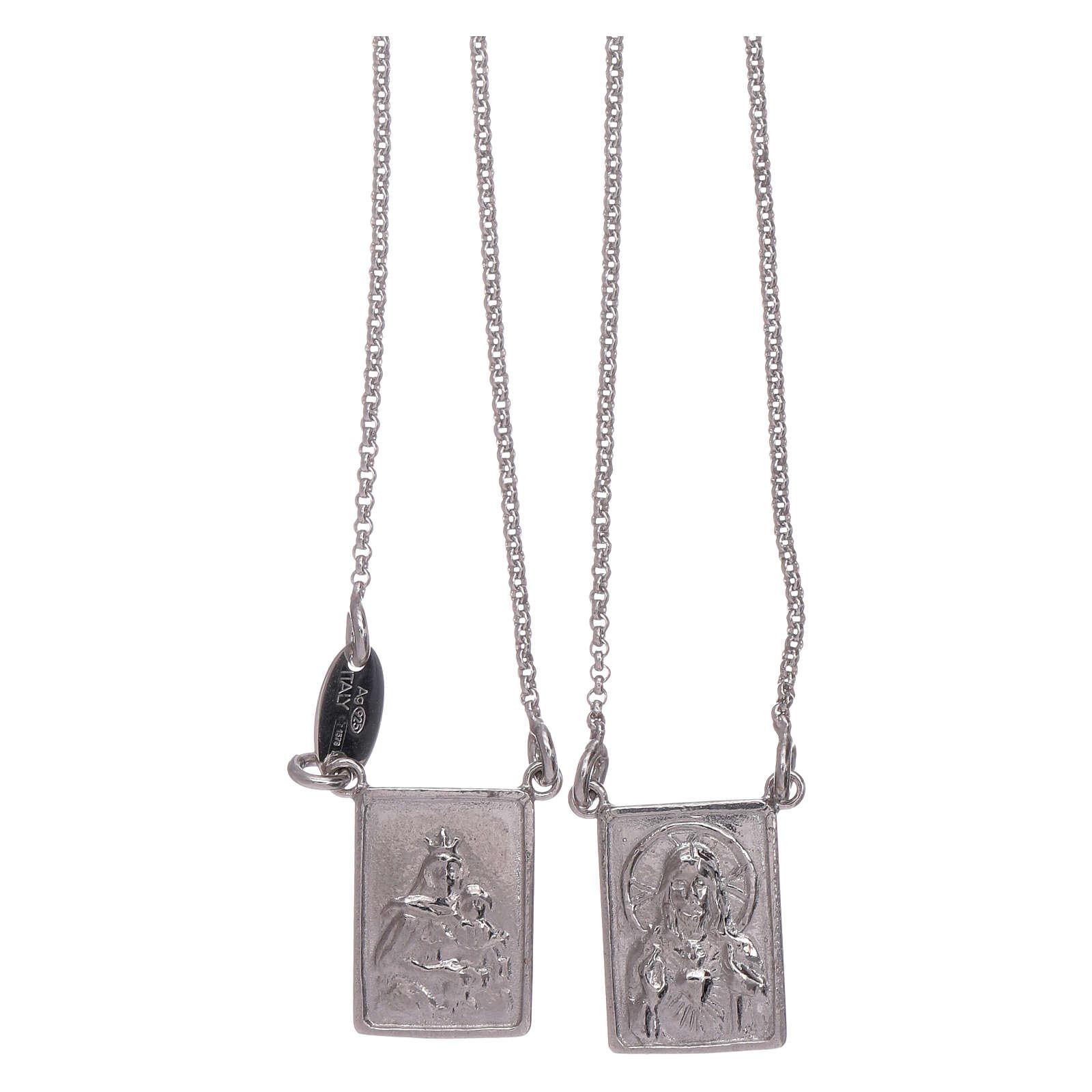 Escapulario plata 925 AMEN Virgen María y Jesús 4