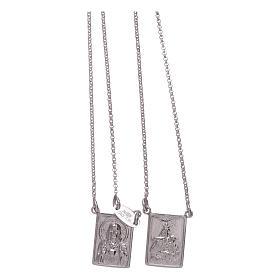 Escapulario plata 925 AMEN Virgen María y Jesús s2