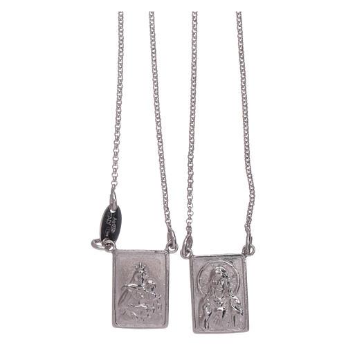 Escapulario plata 925 AMEN Virgen María y Jesús 1