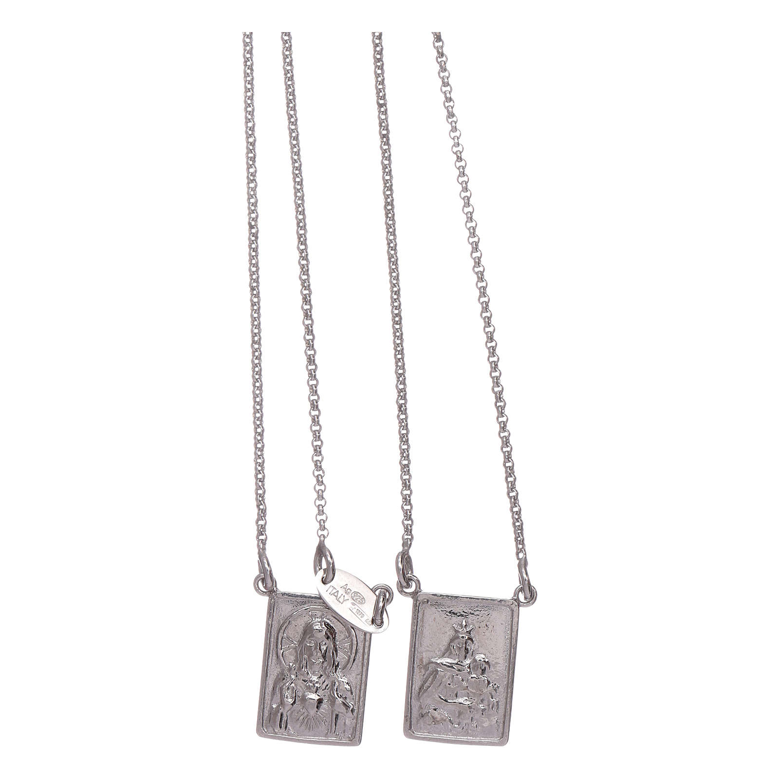 Bachelor necklace in 925 sterling silver finished in rhodium with Our Lady and Jesus medal 4