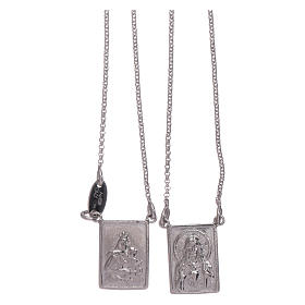 Bachelor necklace in 925 sterling silver finished in rhodium with Our Lady and Jesus medal s1