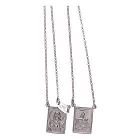 Bachelor necklace in 925 sterling silver finished in rhodium with Our Lady and Jesus medal s2