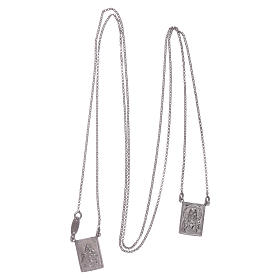Bachelor necklace in 925 sterling silver finished in rhodium with Our Lady and Jesus medal s3