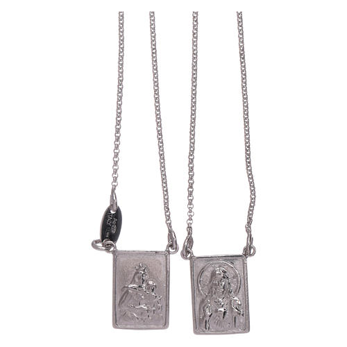 Bachelor necklace in 925 sterling silver finished in rhodium with Our Lady and Jesus medal 1