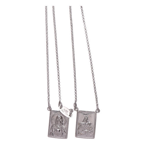 Bachelor necklace in 925 sterling silver finished in rhodium with Our Lady and Jesus medal 2