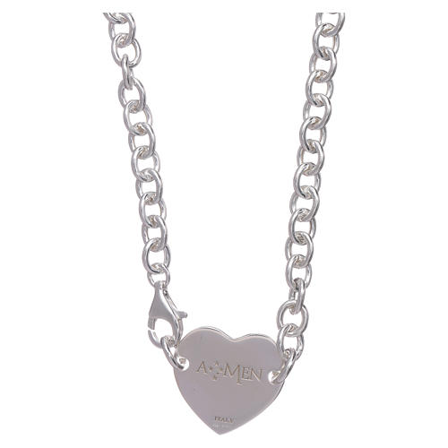 AMEN necklace in 925 sterling silver with heart 2