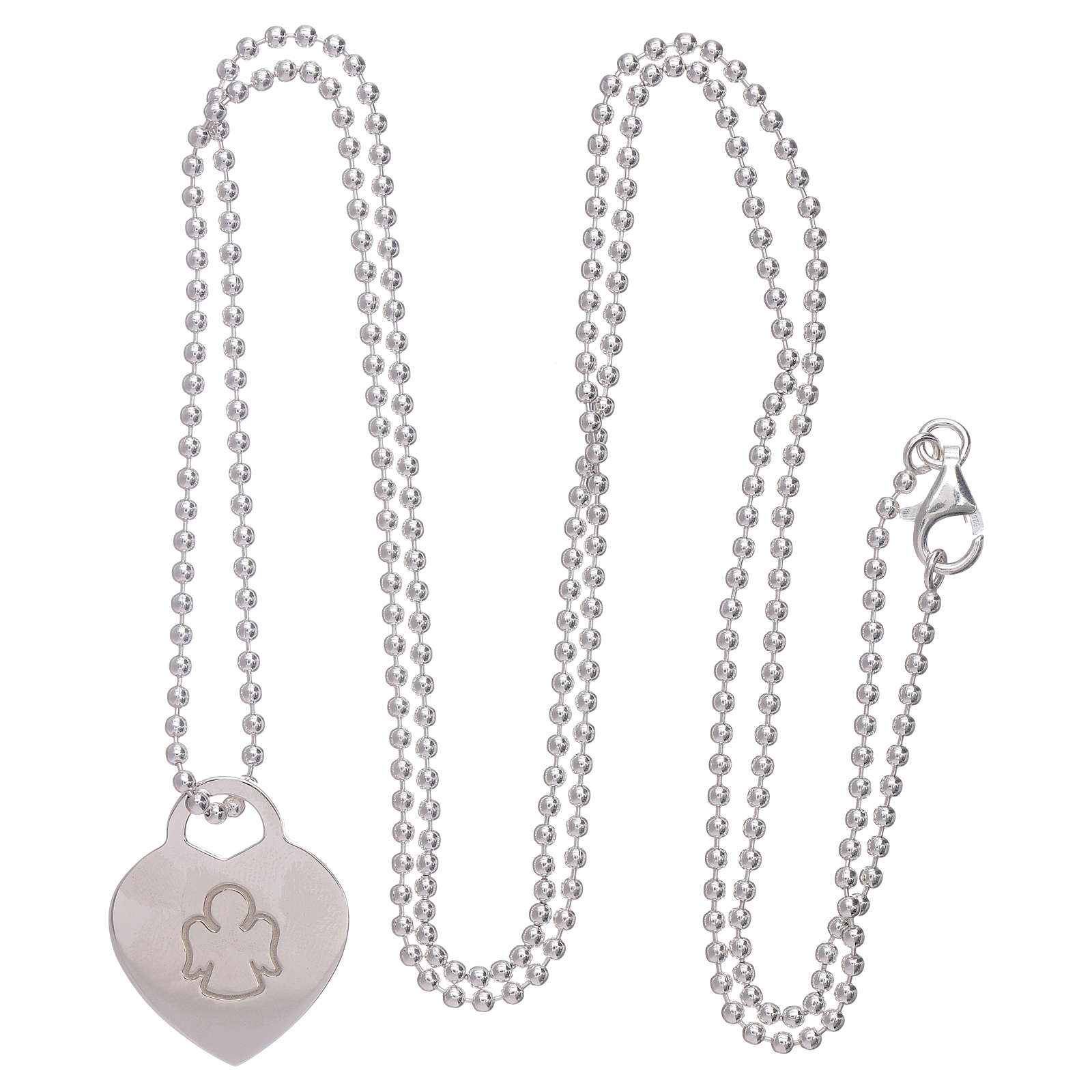 AMEN necklace with heart pendant in 925 sterling silver finished in rhodium 4
