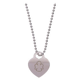 AMEN necklace with heart pendant in 925 sterling silver finished in rhodium s1